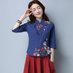 d90d79f589a Embroidered Traditional Chinese Floral Shirt   WayAsian Beautiful Blouses,  Traditional Chinese, Chinese Painting,