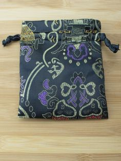Premium Mala Bag - Black Symbols & Koi Brocade