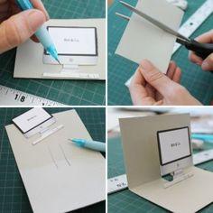 DIY : Cartes pop-up iMac machine à écrire et polaroid
