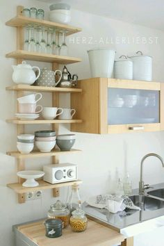 Open Shelving In The Kitchen. Great Idea For Small Spaces.