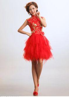 Chinese Red Cheongsam Tutu Gown Patty Wedding Evening Short Mini Dress | eBay
