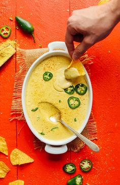 CREAMY Roasted Jalapeno Vegan Queso! 7 ingredients, spicy, flavorful, SO delicious! #vegan #glutenfree #queso #plantbased #recipe #cheese #healthy #minimalistbaker