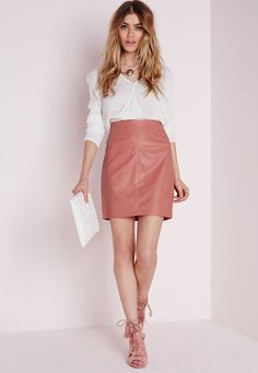 Petite Exclusice Black Faux Leather Mini Skirt - Missguided ...