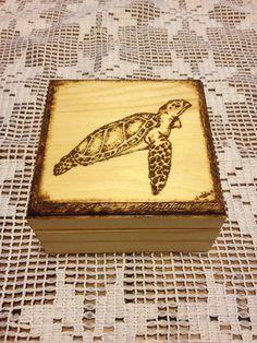 Sea Turtle Trinket Box  Woodburned  Handmade by PurpleCowArt