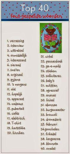 Onderwijs en zo voort ........: 1106. Ezelsbruggetjes : De meest fout gespelde woorden