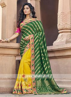 Bunch Of Wedding Wear Silk Embroidered Saree With Heavy Blouse Piece Set Bottle Green Saree, Half And Half, Engagement Dress For Bride, Green Silk, Yellow Saree Silk, Pink Silk, Art Silk Sarees, Bollywood Saree, Traditional Sarees