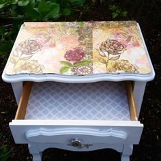 French Provincial accent table mode-podged with beautiful rose paper and painted white. Purchase at: www.wendiewillisdesigns.com