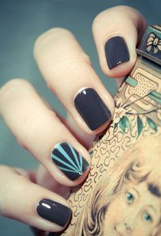 dark gray manicure with blue accent nail @Gabriella De Simone Gamez I like thisssss