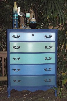 Cabinet in Napoleonic, Drawers from top: Louis Blue, Duck Egg, Provence, Greek Blue, and Aubusson Blue - See more at: http://appleboxboutique.blogspot.com/2013/07/a-twist-on-our-colour-of-month-baby.html#sthash.9Szj0PvO.dpuf
