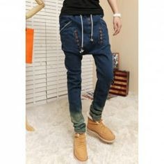 $24.26 Casual Style Multi-Button Embellished Gradient Color Jeans Harem Pants For Men