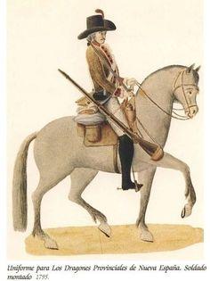 Dragones Provincial de Nueva España 1795 a caballo