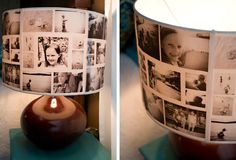 DIY: Photo Lampshades..great for the teen years when you think you have to have pictures all over your room....I will remember this whem mine get that age..lol..cute idea