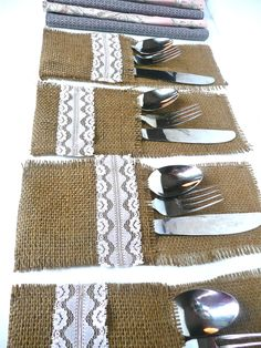 I want to make these :) Silverware Pockets - Burlap & Pale Pink, Vintage Lace -  Farm Chic Wedding Tableware. $12.00, via Etsy.