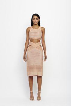 Jonathan Simkhai Spring '14 Major gradient bra top and cross stripe textured jersey gradient skirt in blush #JonathanSimkhai