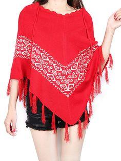 Women Christmas Knitting Print Tassels Cloak Coat