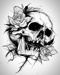 Skulls Drawing Drawings - Sites new Skull Anatomy, Anatomy Art, Skull Artwork, Skull Painting, Drawing Sketches, Art Drawings, Tattoo Drawings, Skull Tattoos, Tribal Tattoos