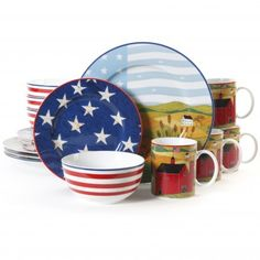Gibson Home America The Beautiful 16-Piece Dinnerware Set