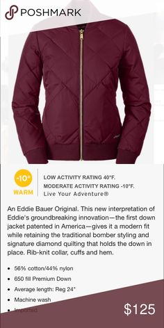 Eddie Bauer Bomber NWOT!  Beautiful Original Skyliner coat!  Warm and chic!  Right on trend!  Will post pics of actual. Eddie Bauer Jackets & Coats