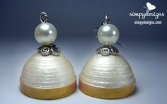 Pearl white paper jhumkas