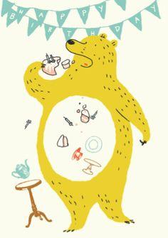 Un ours glouton est en train de s'enfiler tous les gâteaux et sucreries d'anniversaires ni vu ni connu !    Un ours cocasse et tout jaune (je suspecte qu'il soitpris du foie)dessiné par Dominique Lebagousse.    D: 14,8 x 10,5 cm. Enveloppe fournie. Carte double.   3,90 € http://www.lafolleadresse.com/cartes/3718-carte-double-ours-jaune-glouton-happy-birthday-enveloppe.html
