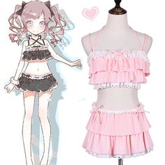 "Pink/black lolita lace falbala swimwear suit SE10023      Coupon code ""cutekawaii"" for 10% off"