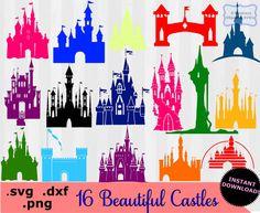 Disney Castle clipart, Disney Castle SVG, svg files,  Disney Castles svg, dxf, files for silhouette, files for cricut, Princess castles, svg