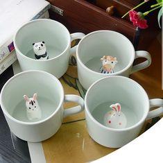Fantastic Screen Ceramics cup coffee Strategies Creative Ceramic Cup coffee Mug Milk Cup With Animal Cute Cartoon Panda Rabbit Tee Cup Heat-resi Ceramic Plates, Ceramic Pottery, Ceramic Painting, Ceramic Art, Coffee Cups, Tea Cups, Cerámica Ideas, Gift Ideas, Animal Mugs