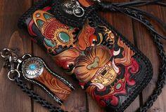 Handmade leather Black biker trucker wallet leather chain men monster Carved Tooled wallet