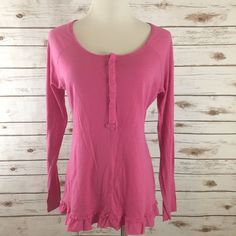 LUCY M Pullover Henley Top Shirt PINK Ruffled Bottom Long Sleeve MED #LucyActivewear #KnitTop #Casual