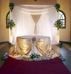 Drape the front of the stage with sheer gold iridescent panels and rice lights. Party Decoration, Wedding Decorations, Table Decorations, Party Kulissen, Head Tables, 50th Wedding Anniversary, Wedding Stage, Wedding Pinterest, Ceremony Backdrop