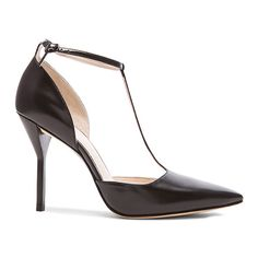 3.1 Phillip Lim Martini T-Strap Pump ($270) ❤ liked on Polyvore featuring shoes, pumps, accessories, women, high heel shoes, high heel pumps, leather upper shoes, black pumps and t bar shoes