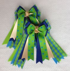 St. Patricks Day Hair Bows for English Horse by BowdanglesShowBows