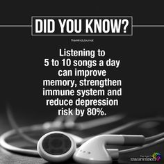 psychology says, music helps to strengthen your memory, immune system and reduce depression risk by 80 percent. True Interesting Facts, Interesting Facts About World, Intresting Facts, Interesting Information, Psychology Fun Facts, Psychology Says, Psychology Quotes, Interesting Psychology Facts, Behavioral Psychology