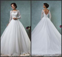 Big Ball Gown Wedding Dresses 2015 Amelia Sposa Jessica Lace Tulle Wedding Dresses With Long Sleeve Sexy Mermaid Sheer Neck Appliqued Bridal Gowns Plus Size Bridal Wedding Dress From Wheretoget, $137.23| Dhgate.Com