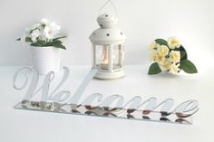 Silver Welcome Sign Wedding Decor Home Decor by FranJohnsonHouse