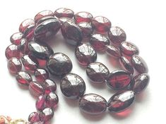 Garnet Oval Beads Natural Garnet Plain Smooth by gemsforjewels