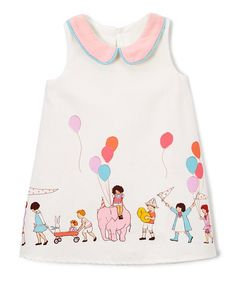 Caught Ya Lookin White Circus Shift Dress - Infant & Toddler | zulily