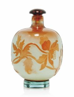 A GALLÉ CAMEO GLASS AND FIRE-POLISHED PERFUME BOTTLE AND STOPPER -  CIRCA 1910