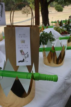Lunch bags & favors at Where the Wild Things Are party.
