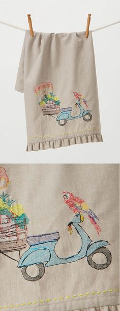 Anthropologie Scooter Vespa Parrot Tea Towel