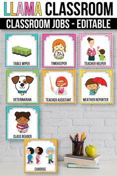 Editable Classroom Jobs with Pictures, Llama Classroom Decor Classroom Jobs, Classroom Setting, Classroom Displays, Classroom Decor, Education Today, Elementary Education, Special Education, Classroom Management Strategies, Class Management