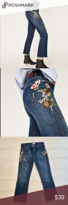 mid rise floral embroidery jeans dark wash denim w floral embroidery & rough cut hem details/flattering fit - more like straight leg w a hint of flare, look great w booties and high tops. worn only once, in mint condition / size EU36, US04 Zara Jeans Straight Leg