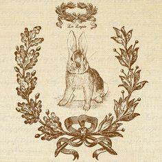 Französische Kaninchen Le Lapin Word Frame Text Script tierische Ostern Digital Image Download Blatt Transfer 2 Kissen Totes Geschirrtücher Sackleinen Nr. 2113