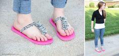 ruffled t-strap flip flops
