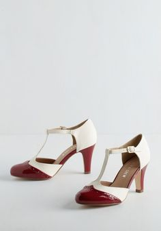 Vivacious Vibes Heel in Crimson. When you came along wearing these crimson and ivory T-straps by Chelsea Crew, moods were instantly lifted amongst your pals. #red #modcloth