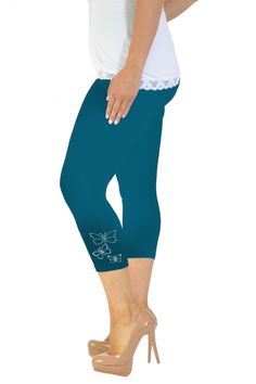Embellished Butterfly Foil Cropped Leggings - Teal Plus Size Leggings, Plus Size Outfits, Capri Pants, Teal, Large Size Clothing, Capri Trousers, Plus Size Fashions, Plus Size Clothing, Plus Size Dresses