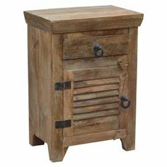 1-drawer wood side table with a louvered door and iron hardware.    Product…