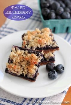 Paleo Blueberry Bars - gluten-free, grain-free, dairy-free but still taste great! And no guilt!