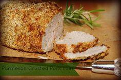 Parmesan Crusted Pork Loin recipe1 to 1 ½ pound pork loin, ¼ cup grated parmesan cheese, 1/3 cup panko bread crumbs, 1 Tbsp. Rosemary, ½ Tbsp. Oregano, ½ tsp. pepper, 1 tsp. garlic salt, 2 Tbsp. Greek Yogurt (or mayonnaise)