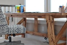 gorgeous 2x4 desk!  plans by ana-white.com light wood stain pine potterybarn style workbench inspired